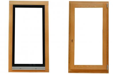 Holzfenster mit flügelüberdeckender Verglasung